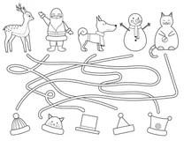 Funny cat and dog maze stock illustration. Illustration of