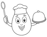 Chef Egg Character With Tray And Spoon Stock Vector