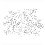 Coloring PEACE Sketched Doodles Vector Royalty Free Stock