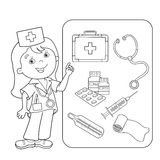 Cartoon Nurse With First Aid Kit And Syringe Stock Vector