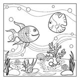 Underwater Seascape For Coloring Stock Vector