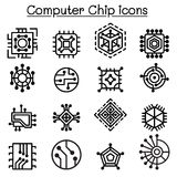 Computer thin icons stock vector. Illustration of desktop