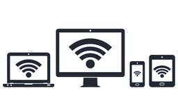 Laptop, Tablet And Smartphone Icons With Wifi Internet