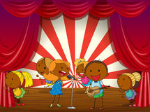 Kids Music Band Playing And Singing On Stage Stock Vector