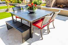 contemporary patio furniture with table