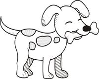 Line Art Black And White Dog Bone Icon Poster. Stock