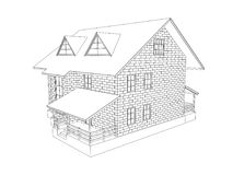 Line drawing of a cottage stock vector. Illustration of