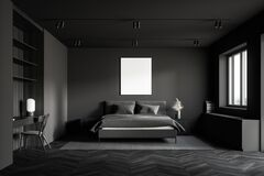 Dark Grey Bedroom With Poster And Table Stock Illustration Illustration Of Architecture Floor 175538983