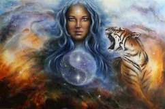 Schne Malerei Eines Jungen Indischen Mannes Und Der Frau Begleitet Mit Wolf Und Adler Auf