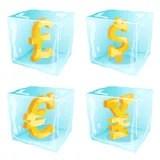 Dinero congelado Imagen de archivo libre de regalías