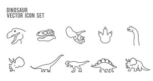 Dinosaur Skeleton Fossil Vector Icon Set Stock Vector