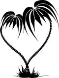 Silhouette Drawing Of Two Palm Trees In The Form Of Heart
