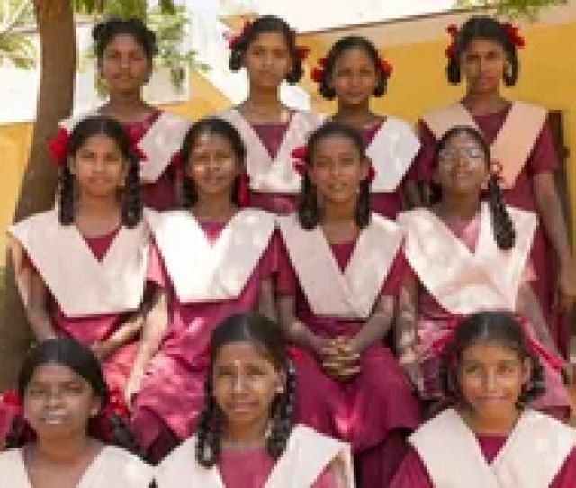 School Children Pondichery Tamil Nadu India February 23