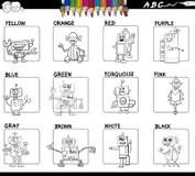 Robots Cartoon Set For Coloring Book Stock Vector