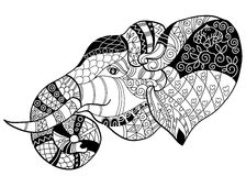 Elephant Head Doodle On White Vector Sketch. Stock Vector