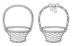 Empty Wicker Basket Stock Illustrations