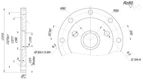 Bearing Sketch With Polishing. Engineering Drawing Stock
