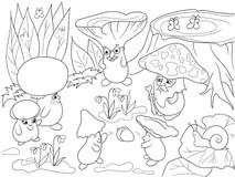 Cartoon Mushrooms On The Grass Vector Illustration Stock