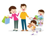 shopping cartoon illustration characters vector clip asian drawing roller boy happy mom rent illustrations skate premium dad background celebrating nine