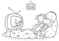 Child Watching Tv Stock Illustrations