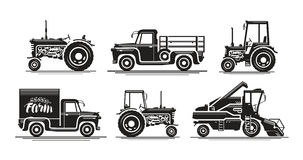 Vector Tractor And Combine Harvester Icons Stock Vector