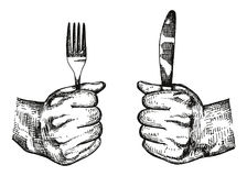 Hand Sketch Of Hand With A Knife Stock Vector