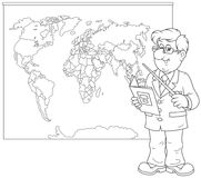 Teacher Teaching At Class. Coloring Book Page. Stock