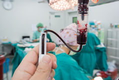 Giving packed red cell during open heart surgery Royalty Free Stock Photography
