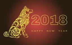 2018 Chinesisches Neujahrsfest Jahr Des Hundes Auch Im