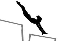 Women's Gymnastics Uneven Parallel Bars Royalty Free Stock