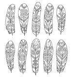 Set Of Hand Drawn Feathers On White Background. Boho