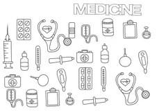 Vector Coloring Book.Medical Set Stock Vector