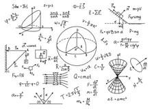Mathematical Seamless Pattern With Geometry Formulas, Math