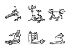 Fitness And Workout Exercise In Gym. Vector Set Of Icons