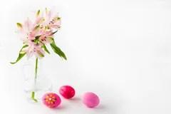 Gemalte Stilisiert Rosafarbene Blume Stockbilder  Bild
