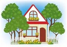 Frhling Blumen Kleines Haus Stock Illustrationen Vektors