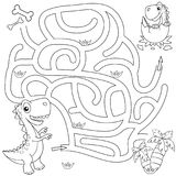 Coloring Book Page For Kids: Dinosaur Stock Illustration