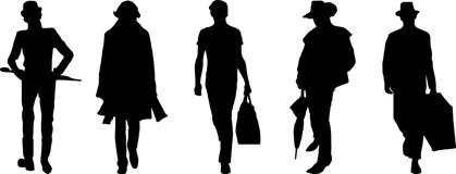 Hommes Avec Le Chapeau Et Le Parapluie En Silhouette Illustration Stock  Illustration du club