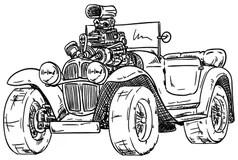 Hot Rod Engine Cartoon Drawing Old School Cartoons