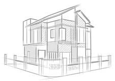 Tekening Van Een Huis En Architectuurplannen Stock