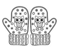 Page Coloring Winter owl stock illustration. Illustration