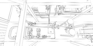 Industrial Equipment. Wire-frame Render Stock Illustration