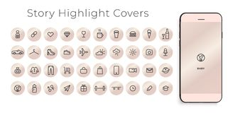 icon highlights instagram food icons vector covers perfect illustration stroke outline bloggers stories line cartoon