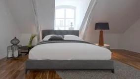 Interieur De Chambre A Coucher Avec Le Lit Sous Une Pente De Toit Photo Stock Image Du Toit Pente 63461164