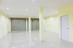empty yellow background interior wall door