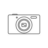 Black And White Contour Photo Camera Stock Vector