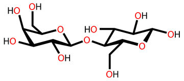 Chemical Structure Of Lactose, A Milk Sugar Molecule Stock