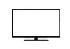 Modern Blank Flat Screen TV Set Isolated Stock Image