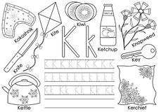 Alphabet K for kite stock vector. Illustration of object