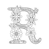 Letter A Coloring Book For Adults Vector Stock Vector